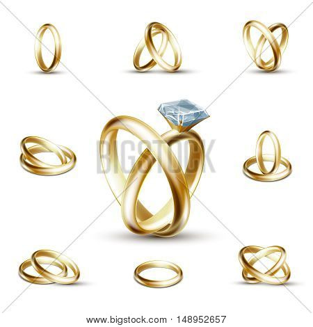 Wedding rings and wedding diamond ring vector illustration. Golden ring with gemstone