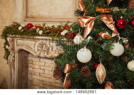 Christmas Decoration Over Wooden Background. Decorations over Wood. Vintage.