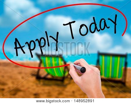 Man Hand Writing Apply Today With Black Marker On Visual Screen
