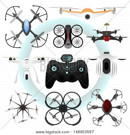 Set of vector drones. Collection of aerial vehicle with remote control: quadrocopter, helicopter, aircraft. Innovation technology concept. Flat isolated illustrations