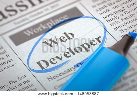 A Newspaper Column in the Classifieds with the Vacancy of Web Developer, Circled with a Blue Highlighter. Blurred Image with Selective focus. Concept of Recruitment. 3D Rendering.