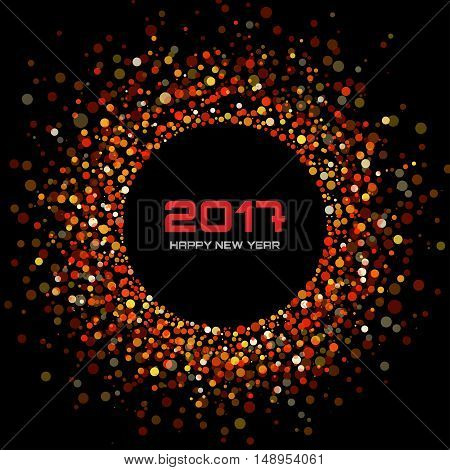 Red Bright New Year 2017 on black Background.  Glowing confetti circle new year frame. Red shining circle background. Vector illustration