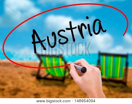 Man Hand Writing  Austria With Black Marker On Visual Screen
