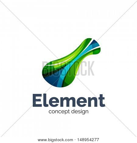 Vector flowing abstract shape, logo template. Colorful unusual business icon