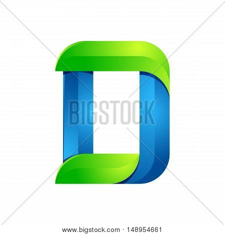 D letter leaves eco logo volume icon. Vector design green and blue template elements an icon for your ecology application or company.