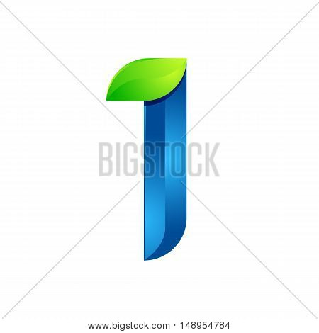 I letter leaves eco logo volume icon. Vector design green and blue template elements an icon for your ecology application or company.