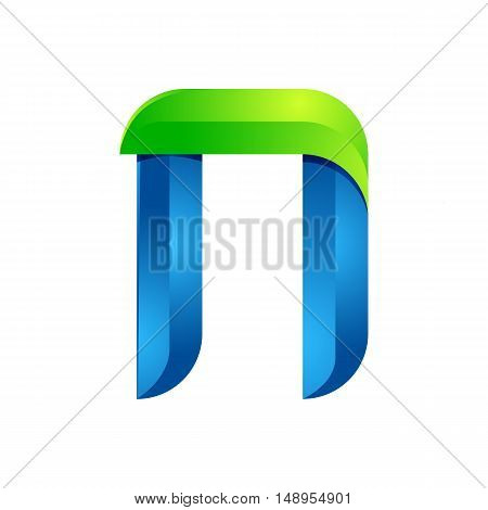N letter leaves eco logo volume icon. Vector design green and blue template elements an icon for your ecology application or company.