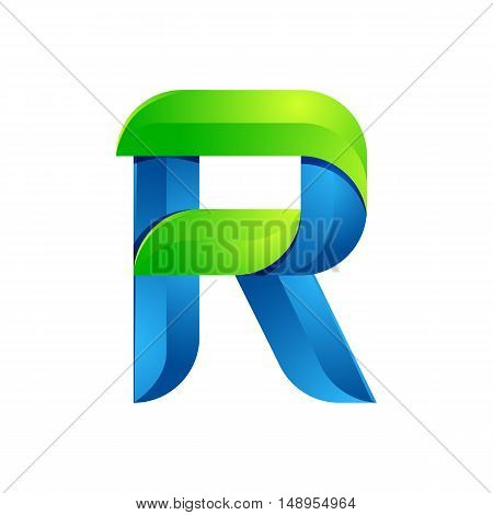 R letter leaves eco logo volume icon. Vector design green and blue template elements an icon for your ecology application or company.