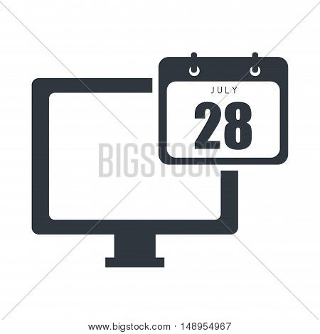 screen monitor computer technology device with calendar icon. vector illustration