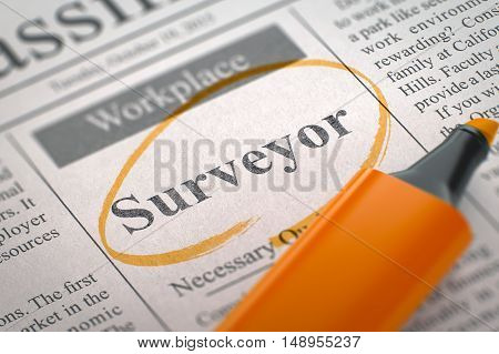 Newspaper with Small Ads of Job Search Surveyor. Blurred Image. Selective focus. Job Search Concept. 3D Render.