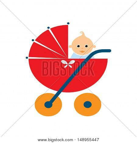 Baby stroller with a doll on white background. Vector illustration