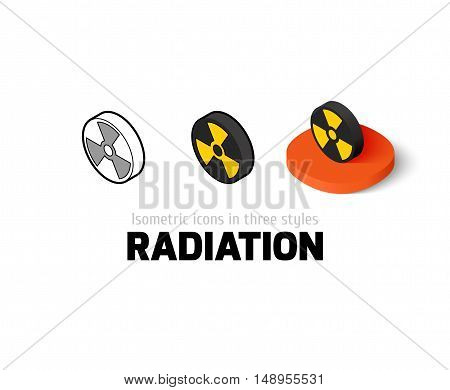 Radiation icon, vector symbol in flat, outline and isometric style