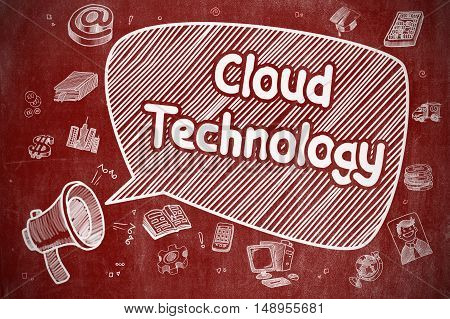 Business Concept. Bullhorn with Wording Cloud Technology. Cartoon Illustration on Red Chalkboard. Cloud Technology on Speech Bubble. Doodle Illustration of Shouting Megaphone. Advertising Concept.