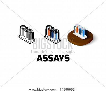 Assays icon, vector symbol in flat, outline and isometric style