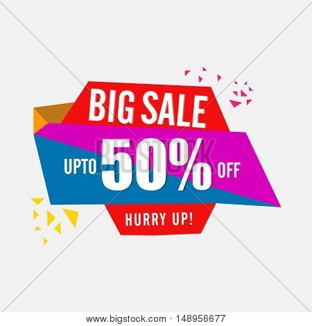 Big Sale with 50% Discount Offer, Colorful paper Banner or Tag design, Vector Illustration.