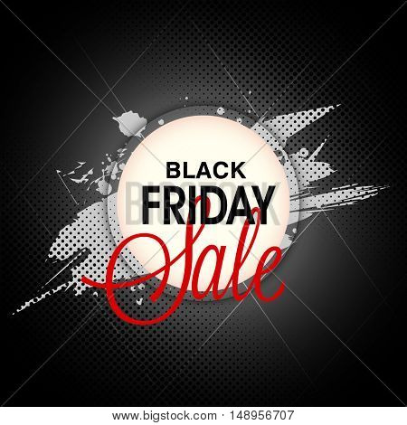 Black Friday Sale Poster, Banner, Flyer or Pamphlet with abstract paint stroke, Can be used as Sticker, Tag or Label design.