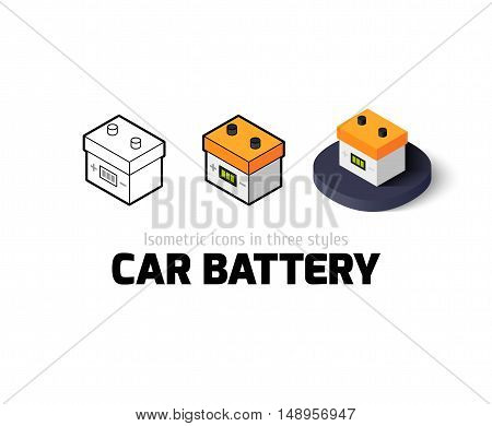 Car battery icon, vector symbol in flat, outline and isometric style