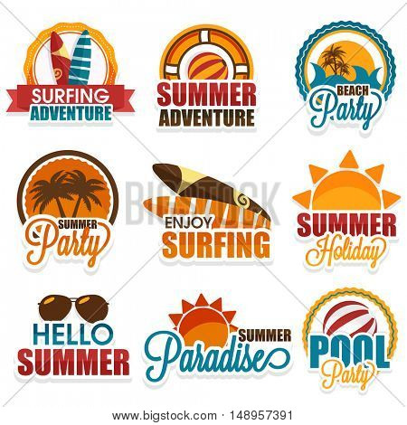 Summer Stickers, Tags or Labels set, Collection of various lettering design for Surfing Adventure, Beach Party, Summer Holiday, Pool Party etc., Creative vector illustration.