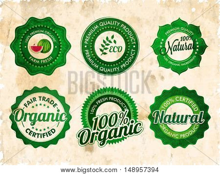 Vintage stickers set, 100% Organic products labels, Natural farm fresh products tags collection.
