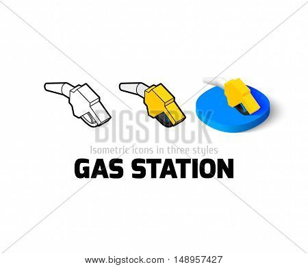 Gas station icon, vector symbol in flat, outline and isometric style