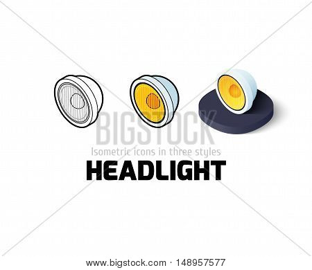 Headlight icon, vector symbol in flat, outline and isometric style