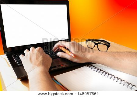 Rear view of business man hands busy using laptop with blank sceen at office desk with copy space.