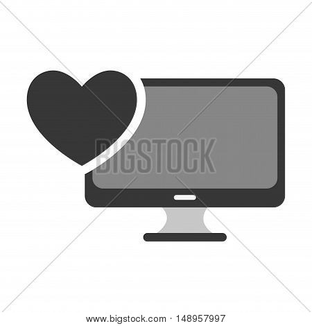 screen monitor computer technology device with heart shape. vector illustration