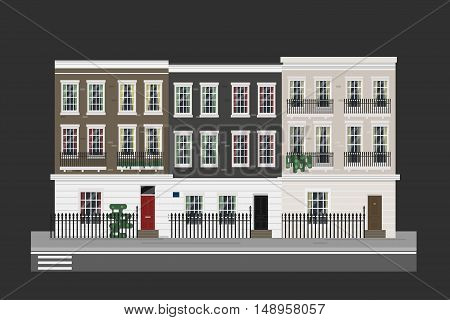 Buildings set - english street with houses. Detailed isolated vector illustration