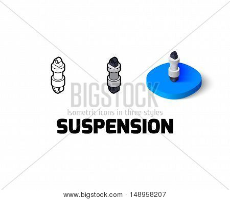 Suspension icon, vector symbol in flat, outline and isometric style