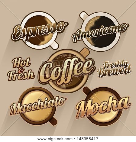 Hot and Fresh Coffee Labels, Stickers and Tags set, Various creative lettering design collection, Vector illustration for Cafe, Bar and Restaurant Menu, Food and Drink concept.
