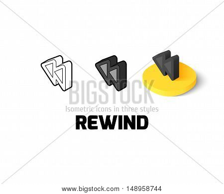 Rewind icon, vector symbol in flat, outline and isometric style