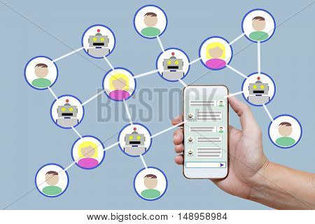 Chatbot concept with instant messenger displayed on smart phone and future marketing concept.