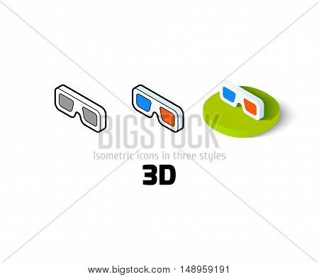 3D icon, vector symbol in flat, outline and isometric style