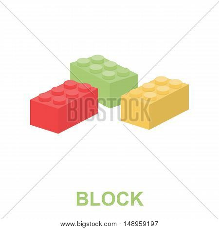 Building block cartoon icon. Illustration for web and mobile.