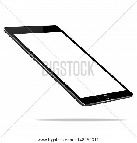 mock up black tablet perspective view isolated on white vector design