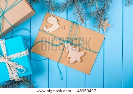 Christmas background with decorations gift boxes and other.