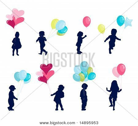 Girl and boy with balloon, happy kids
