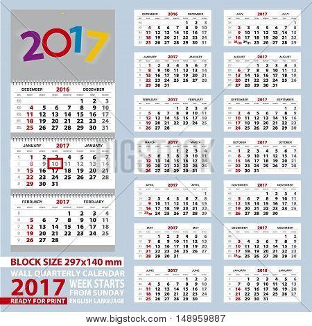 Wall calendar 2017 week start from Sunday. Size A4 block size 297x140 mm. Vector Illustration.