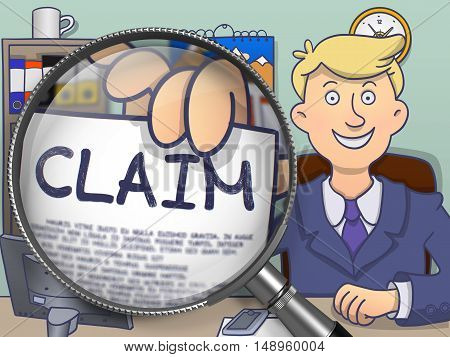 Claim. Paper with Concept in Man's Hand through Magnifying Glass. Colored Modern Line Illustration in Doodle Style.