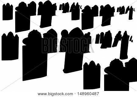 black gravestones illustration isolated on white background with copyspace