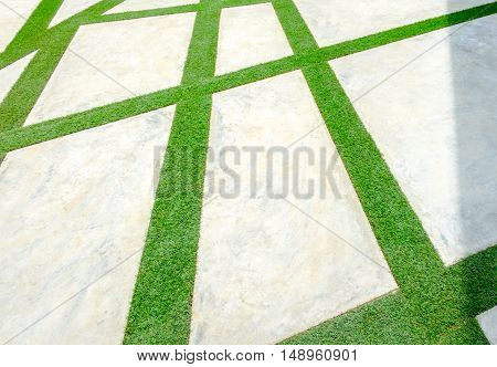 Pavement Made With Grass And Concrete Block