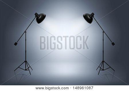 Empty photo studio with spotlights. Spotlight and studio empty, photo interior room. Realistic vector illustration