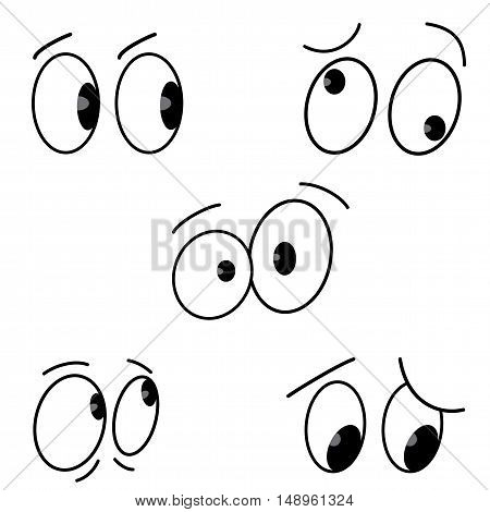 Cartoon eyes set on white background. Vector