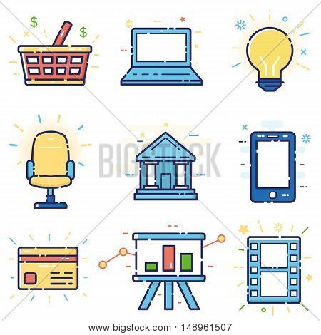 Vector modern stylish flat linear icons set of basic office marketing items business management social media for web and app design and development - part 6