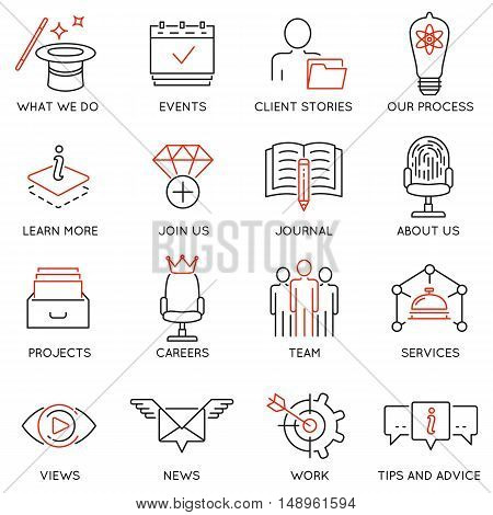 Vector set of 16 icons related to business management marketing maintain and service. Mono line pictograms and infographics design elements for app and web design navigation - part 1