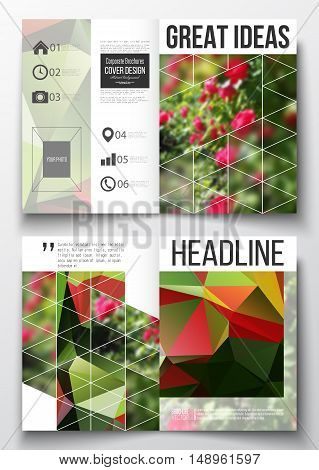 Set of business templates for brochure, magazine, flyer, booklet or annual report. Colorful polygonal floral background, blurred image, red flowers on green, modern triangular texture.