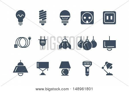 Lamp and bulbs black vector icons set. Electrical symbols. Bulb energy, electric lamp icon, light bulb lamp, electricity power lamp bulb, electrical lamp illustration