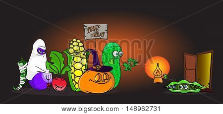 Cartoon alive Vegetables in halloween costumes trick-or-treating in front of scared little peas - hand drawn rasterized copy