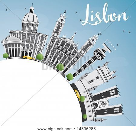 Lisbon Skyline with Gray Buildings, Blue Sky and Copy Space. Vector Illustration. Business Travel and Tourism Concept with Historic Buildings. Image for Presentation Banner Placard and Web Site.