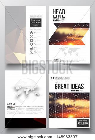Set of business templates for brochure, magazine, flyer, booklet or annual report. Colorful polygonal backdrop, blurred natural background, amazing summer sunset view, modern triangle vector texture